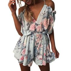 9592abe36b1 CHAMSGEND rompers womens jumpsuit Women Summer O-Neck Short Sleeve Mini  Jumpsuit Evening Party Beach