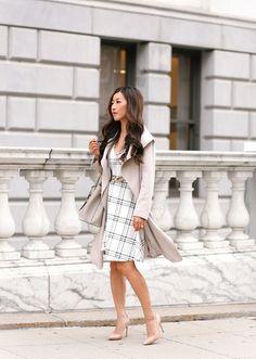 Cascading Classics: draped trench coat + windowpane dress
