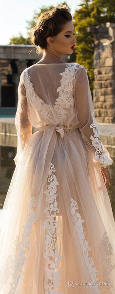 victoria soprano 2018 bridal long sleeves illuson bateau v neck light embellishment romantic blush color a line wedding dress sheer back sweep train (leila) zbv #weddingdresses