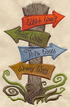 Alice in Wonderland Road Signs - Embroidered Linen Kitchen - Bathroom Hand Towel with YOUR CHOICE of Colored Border. $13.99, via Etsy.