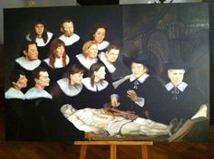 Anatomy lesson of Dr. Tulp. Remake of Rembrandt