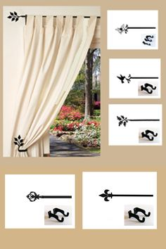 Decorate with beautiful iron curtain rods made of wrought iron. Extra Long Curtain Rods, Curtain Brackets, Decorative Curtain Rods, Long Curtains, Wrought Iron, Guest Room, Room Ideas, Range, Interior Design