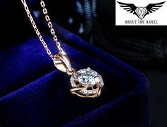 14 K Rose Gold Pendant / Moissanite Diamond Pendant / Solitaire Pendant