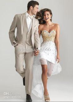 Wholesale Wedding Suits - Buy Custom Design Beige Two Buttons Groom Tuxedos Best Man Notch Lapel Groomsmen/Men Wedding Suits Bridegroom Jacket+Pants+Vest+Tie A199, $116.0 | DHgate