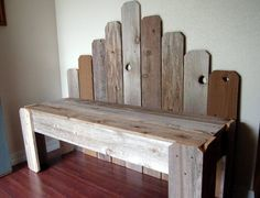 Recycled Wood Bench. What's Country Now. OVER 4 Foot Long. Cedar Fan Back Bench. Eco Furniture. Rustic Furniture I want this bench!!!