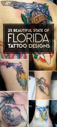25 Beautiful State of Florida Tattoo Designs | TattooBlend