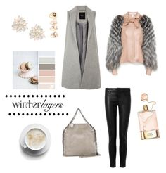"""""""Winter layers Blush&Grey"""" by lyndsey-eve-wampler ❤ liked on Polyvore featuring Carolina Herrera, Chloé, J Brand, STELLA McCARTNEY, Forever 21 and Cara"""