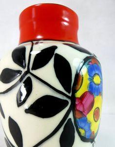 Art Deco Czech Ditmar Urbach Dramatic Red Black Handpainted Vase 1920s