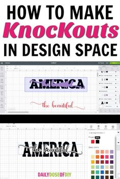 How To Make Knockout Designs in Cricut Design Space Learn How To Make Knockout Designs in Cricut Design Space. Learn how to put text in text and how to add images to text. Plus I even show you how to layer the knockouts with adhesive vinyl. Logo Design, Design Blog, E Design, Media Design, Brand Design, Cricut Air 2, Cricut Help, Plotter Silhouette Cameo, Silhouette Cameo Projects