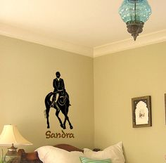 This dressage horse would be a great addition to any horse persons room. The horse and rider measure 14 X 28 inches, with the name in 4 inch