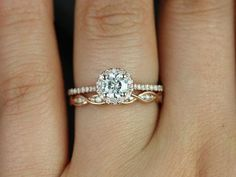 Ultra Petite Kubian & Ember 14kt Rose Gold FB Moissanite and Diamonds Halo Wedding Set (Other metals and stone options available)