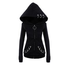 Punk Hoodie With Metal Rings - Winter Combinations Fashion Gothic Outfits, Edgy Outfits, Mode Outfits, Fashion Outfits, Womens Fashion, Fashion 2018, Cheap Fashion, Fashion Boots, Punk Hoodie