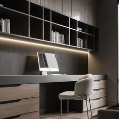 Scandi Style Home Office Design - Study/Media - Whether you work from home or have carved out space for something you love like drawing, reading, o - Home Library Design, Study Room Design, Office Interior Design, Office Interiors, Interior Decorating, House Design, Home Office Setup, Home Office Space, Office Spaces
