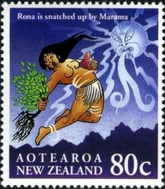 Six colourful stamps representing Maori myths of New Zealand. The Maori had no written language and thus their history and l. Maori Legends, Maori Art, Art Curriculum, Dark Moon, Old Mother, Activity Sheets, Reptiles And Amphibians, West Africa, Surface Pattern Design