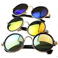 Unisex Vintage coloridas redondas lente gafas de sol de marco de metal - USD $ 6.99
