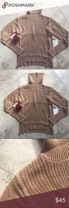 🆕Beige Turtleneck High Low Knit Sweater Brand new. This sweater features a turtle neck, small accent slits at front, cozy knit, and relaxed style. 50% Nylon, 40% Acrylic, & 10% Angora. Model wears small LABEL BY COTTON CANDY LA Nasty Gal Sweaters Cowl & Turtlenecks
