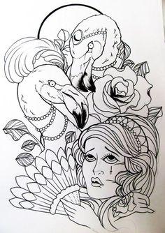 Flamingo - Tattoo Tattoo Tattoo - Roses - Gypsy - Arm Piece