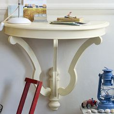 half table for hallway. Transform A Console Table - Make It For Your Hallway Recycled Chic: Half-moon Half