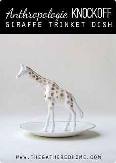 This adorable Anthropologie knockoff giraffe trinket dish is the perfect landing spot for your rings and earrings. All you need is a toy giraffe and thrifted dish to make your own!