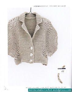 Un gilet different Crochet Bolero, Crochet Shaw, Cardigan Au Crochet, Moda Crochet, Pull Crochet, Crochet Cardigan, Crochet Lace, Free Crochet, Crochet Vintage