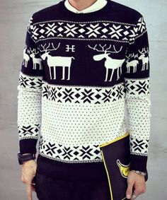Round Neck Snowflake and Elk Pattern Long Sleeve Sweater For Men