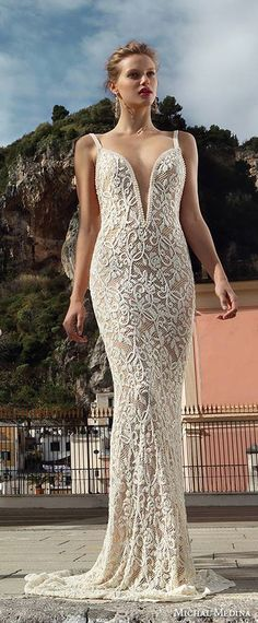 michal medina spring 2016 #bridal beaded strap deep plunging v neckline flora champagne sheath wedding dress #sheathweddingdress #weddings