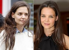 Katie Holmes with and without makeup.