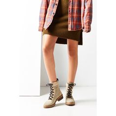 Eve Hiker Boot ($89) ❤ liked on Polyvore featuring shoes, boots, laced boots, chunky-heel boots, urban outfitters, real leather boots and genuine leather boots