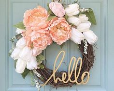 Blush and Gold Wreath // Hello // Home Decor // Spring Wreath // 12 Inch