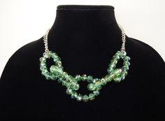 Crystal Chain Necklace in Green by Debbie Renee by DebbieRenee, handmade jewelry