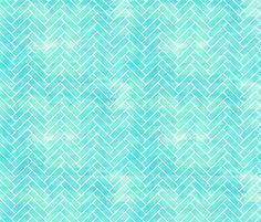 Seamless Watercolor Herringbone Tile aqua fabric by fridabarlow on Spoonflower - custom fabric