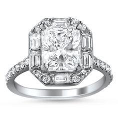 Baguette and Pavé Diamond Halo Ring #BrilliantEarth #Diamond #Engagement