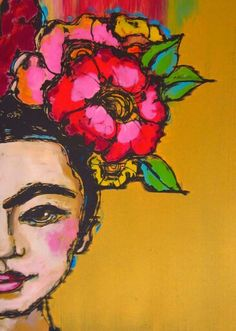 La Mexicana, inspired by Frida, mono print, by Emily Costello