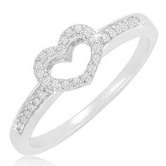 $19.99 - Diamond Accent Sterling Silver Open Heart Ring