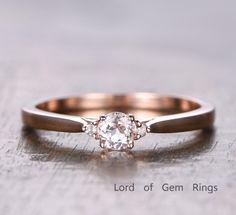 $288 Round Morganite Engagement Ring Moissanite Wedding 14K Rose Gold 5mm