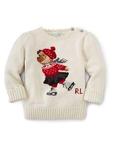 Intarsia Bear Cotton Sweater - Sweaters  BABY GIRL APPAREL - RalphLauren.com