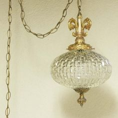 Vintage hanging light  hanging lamp  glass globe  by OldCottonwood