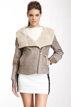 Shearling Trim Leather Jacket  JacketWomen #Outerwear