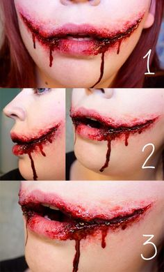 Horrible bloody tearing mouth joker face makeup tutorial - scars, clown, 2014 Halloween think that looks like Jeff the killer ) Horror Makeup, Zombie Makeup, Scary Makeup, Sfx Makeup, Cosplay Makeup, Costume Makeup, Face Makeup, Clown Makeup, Prom Makeup