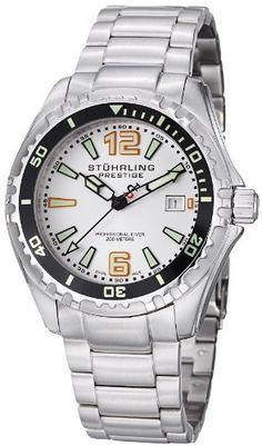Stuhrling Original Men's 382.33112 Prestige Swiss Regatta Captain Quartz Diver Date Silver Dial Watch Stuhrling Prestige. $245.00. Save 35% Off!