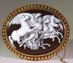 Antique Revivalist Aurora Grisaille Enamel Cameo Brooch Pin in 18k Gold Frame For Sale on Ruby Lane