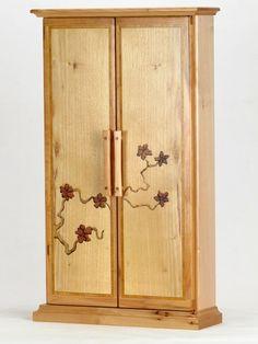 Small Butsudan in Pecan with Flowering Branch - Sierra Woodcraft
