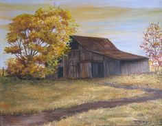 Day's End Acrylic Barn Landscape Painting