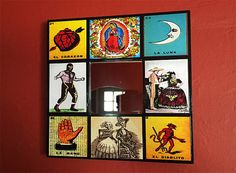 retro Mexico wall mirror vintage loteria day of the dead lucha