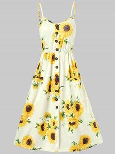 00e3ce73ba78e Sunflower Print Button Up A Line Cami Dress - YELLOW 2XL Sunflower Print, Sunflower  Dress