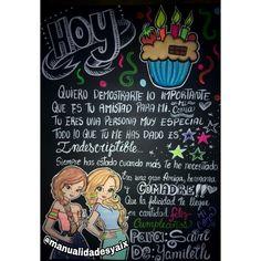 Pancarta cartulina negra de cumpleaños dibujos chicas amigas.