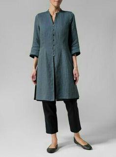 Linen Double Layers Long Top - Plus Size Fashion Over, Boho Fashion, Fashion Outfits, Over 50 Womens Fashion, Mode Ab 50, Miss Me Outfits, Inspiration Mode, Linen Dresses, Linen Tunic Dress