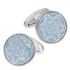 Light Blue Florentine Patterned Enamel Cufflinks by Jan Leslie