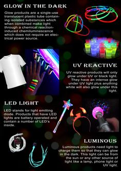 Different types of glow Glow Products, Chemical Reactions, How To Make Light, The Darkest