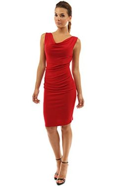 PattyBoutik Women's Cowl Neck Sleeveless Ruched Dress (Bright Red S) ❤ ...